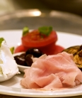 Shaved ham and side dishes